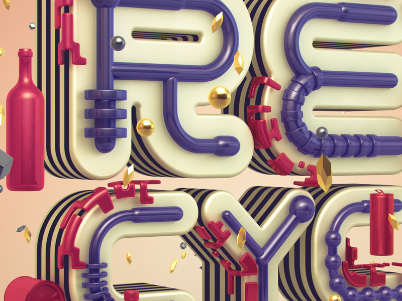 The Cycle of Recycling – 3d Typography